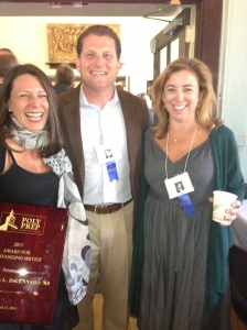 Sam DiGennaro with Jeff Ferraro, former president of The Poly Prep Board of Governors, Erika Boccio Farrell, former member of The Board; each class of '88