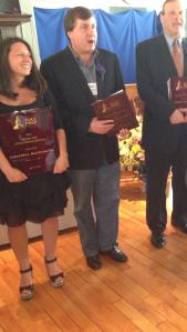 Sam DiGennaro, Service Award recipient with Nick Gravante and Larry Brandman, each Distinguished Achievement Recipients