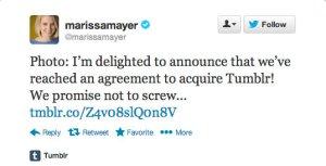 Marissa Mayer Tumblr tweet