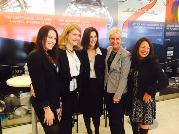 From left to right: Samantha Meiler, VP, Content & Programming, at Nickelodeon's NickMom; Karen Matri, Product Manager, Telematics and Connected Services at Mercedes-Benz USA; Michelle Wirth, Marketing Communications Department Manager, Mercedes-Benz USA; Robyn Streisand, Founder & CEO, The Mixx; Sam DiGennaro, CEO + Founder, DiGennaro Communications