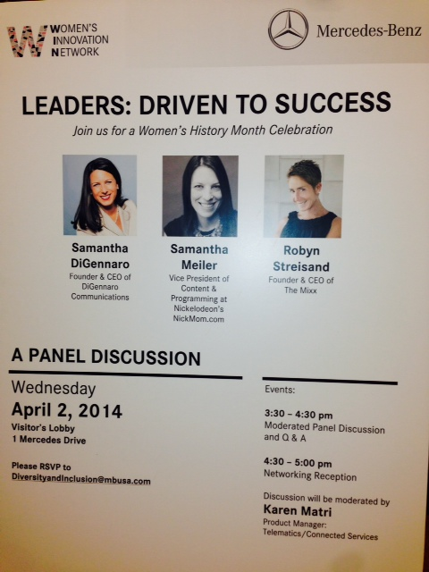 Poster promoting the panel to Mercedes employees