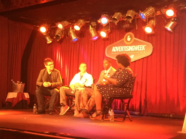(INSERT PICTURE FROM PANEL)  From left to right: Terry Young (CEO/Founder of sparks&honey), David Oksman (U.S. Marketing Director at Reebok) and Imari Oliver (VP, Director of Creative Strategy at sparks&honey) with panel moderator, Advertising Age reporter, Malika Toure